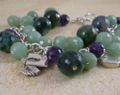 Graduation All Sterling Silver with Amethyst and Aventurine Stone and Charm Bracelet