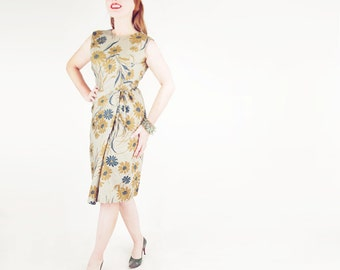 60s Sage Green & Tan Flowered Sheath Dress S M