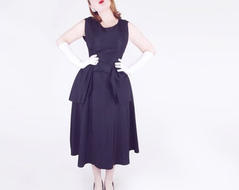50s Black Taffeta Designerly Full Skirt Dress  XS S