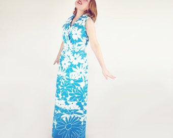 70s Aqua Blue & White Daisy Print Long Dress L