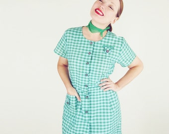 60s Blue and Green Gingham Check Sheath Dress XL