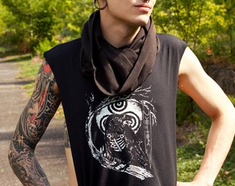 Wings of Sin Decaying Crow Ogham Triskele Printed  Open Sided Tank Top