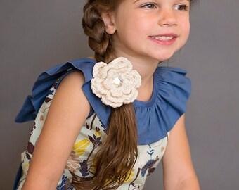 Ecru Hair Clip Crochet Flower Hair Clip Flower Barrette Ecru Barrette Baby Girl Hair Clip Toddler Communion Baptism Wedding Off White