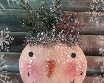 Primitive Snowball Pocket Snowman Ornie E pattern