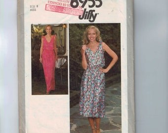 1970s Vintage Sewing Pattern Simplicity 8955 Misses Easy Jiffy Low V Neck Loose Fitting Slouchy Dress Size 8 Bust 31 32 1979 70s