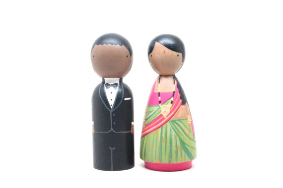 Cake Topper / Wedding Cake Topper / Peg Doll / Multicultural Wedding Cake Toppers / Custom Dolls / Personalized Wooden Dolls / Goose Grease