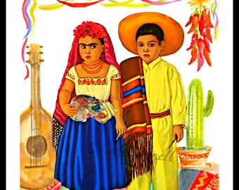 Frida and Diego as Children Print Instant Digital Download Mexican Decor Red Yellow Blue Green Black White Small t Poster Artist Art