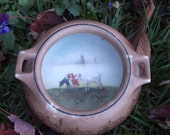 Antique Royal Bayreuth Handled Dish with Cows Scene Handpainted