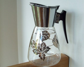 Mid Century Colony Coffee Server with silver leaves