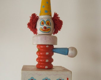 Vintage Painted Wooden Clown Lamp with only one arm
