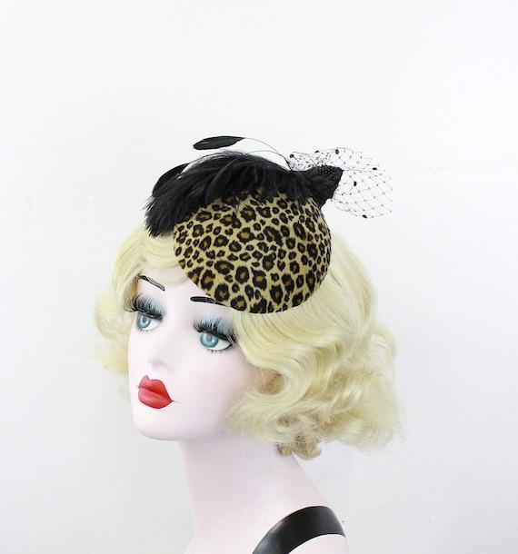 Weddings, Women's Leopard, Hat, Feather Fascinator, Black Birdcage Veil, Cocktail Hat, Retro, 1950s, Batcakes Couture