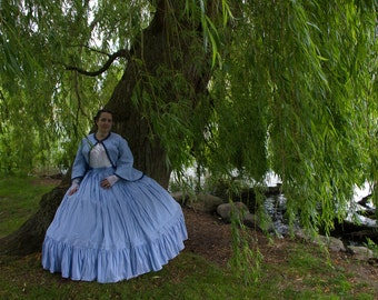 Civil war dress, 1860 day dress white and blue stripes, Size L-XL, pagoda sleeves, reproduction dress, victorian dress, Gone with the wind