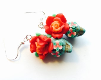 Sugar Skull Earrings in Turquoise with Red Roses