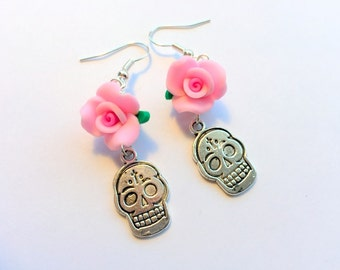 Sugar Skull Earrings Day of the Dead Pink Roses Silver
