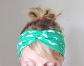 TopTwist Headband - Turban Headband - Green Jersey Stretch Fabric - Mustache Headband Headwrap