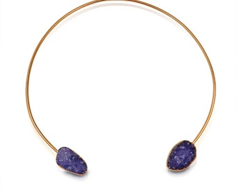 Purple Crystal Necklace | Statement Necklace | Large Necklace | Collar Necklace | 24k Gold Necklace | Purple Druzy Gem Stone Necklace EZZA