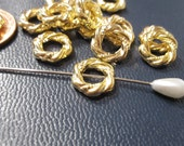 Beads, Metal Bead Frames, Gold Bead Frames, twisted rope design, 11mm diameter BF1010