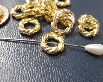 30% Off 12 pcs of Bright Gold Bead Frames, twisted rope design, 11mm diameter BF 015