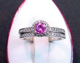 AAAA Pink Sapphire Diamond Halo 14K white gold wedding bridal set. 30 carats  of diamonds. 0823 MMMM