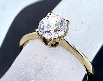 TULIP Custom 14K Yellow gold Solitaire Engagement mounting for your gemstone  5 thru 7mm MMM