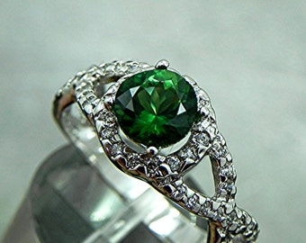 AAAAA Very Rare Chrome Tourmaline   7.00mm  1.47 Carats   round 14K white gold engagement ring  1621