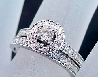 14K white gold diamond halo wedding bridal set. .80 carats Total diamond weight. MMM