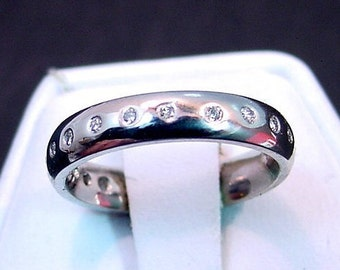 Diamond 14K white gold FINGERPRINT wedding band set with .20 carats of diamonds 4mm