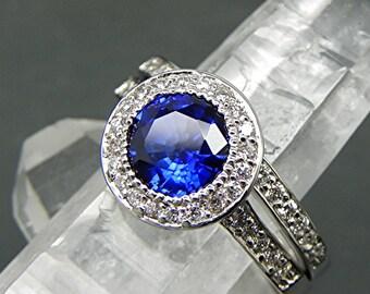Diffused Blue Sapphire   7.00mm  1.25 Carats   14K white gold bridal set.  B007