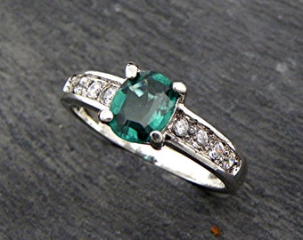 AAAA Blue Green Tourmaline   7x6mm  .70 Carats   in a 18K White gold Diamond Engagement ring. 0292 MMM