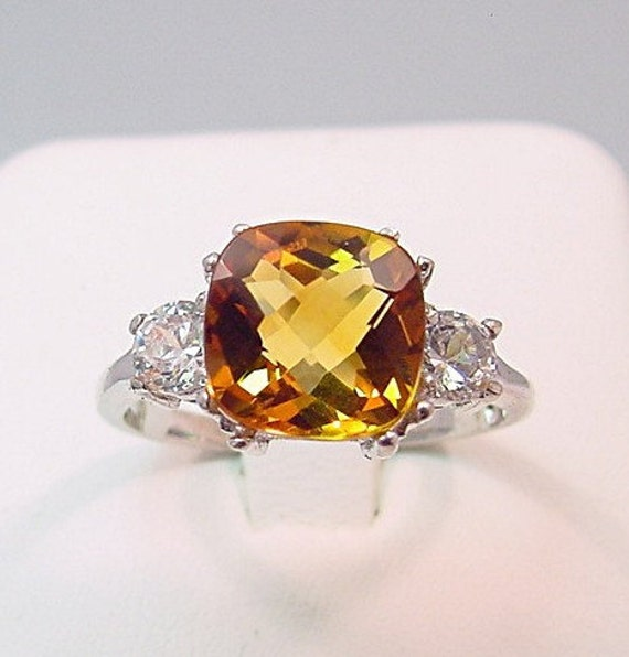 Golden Citrine   9x9mm  2.74 Carats   Cushion Cut in 14K white gold Diamond ring .32ct 0303 MMM
