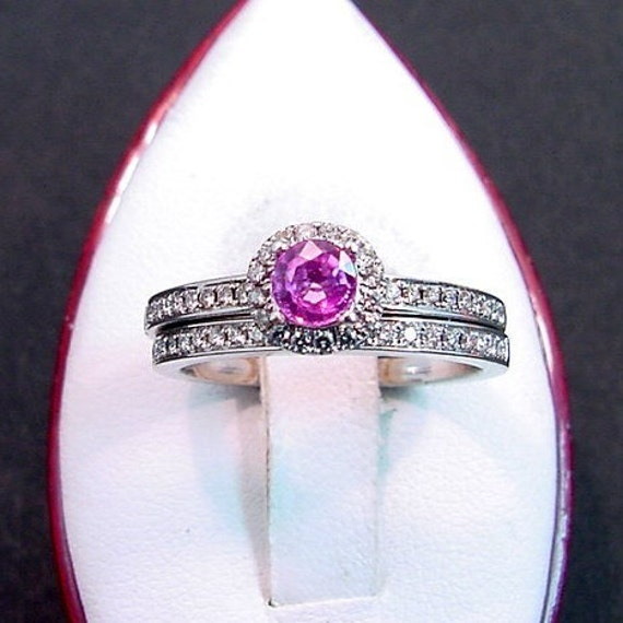 4.28mm Round Natural Pink Sapphire Halo style 14K white gold diamond wedding/bridal set. 30 carats TW 0823