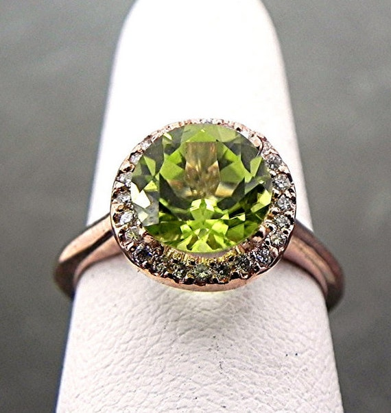 7.7mm 1.84 Carat AAA Peridot 14K rose gold Diamond ring (.20carats) 1002