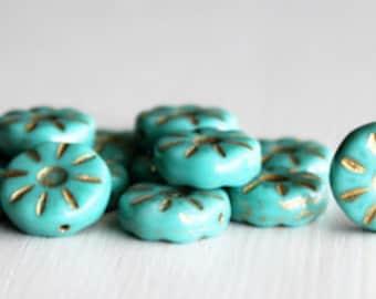 15 Opaque Turquoise/Gold12mm Daisy Czech Glass Flower Bead
