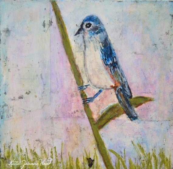 Acrylic Bird Painting. Mixed Media Collage Art. Blue Songbird Painting. Wildlife Animal Painting.