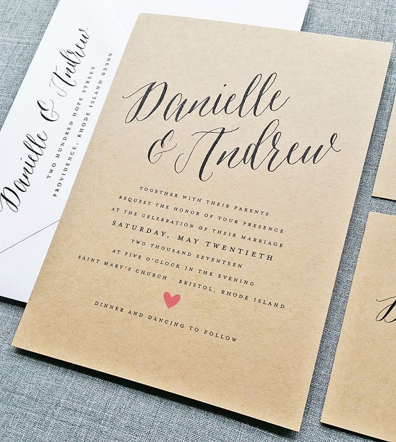 Danielle Rustic Wedding Invitation Sample On Recycled Kraft Card Stock With  Calligraphy Script Font   Spring, Summer Wedding Invite