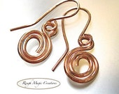 Simple Copper Earrings, Rustic Minimalist Abstract Jewelry, Copper Swirl Dangles