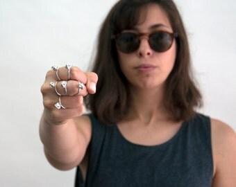 Bud flower silver ring, flower ring, Delicate bud ring