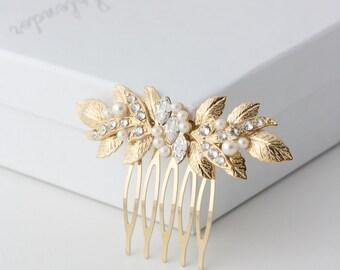 Small Hair Comb Gold Wedding Comb Leaf Comb Bridesmaid Hair Accessory Bridal Comb  MIRA COMB