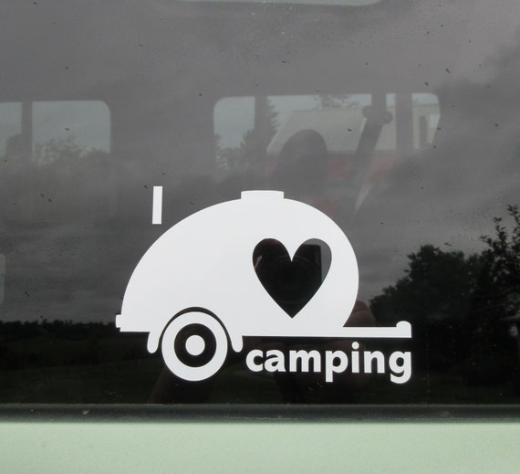 Escape Travel Trailer >> I love camping teardrop car window decal. Travel trailer.