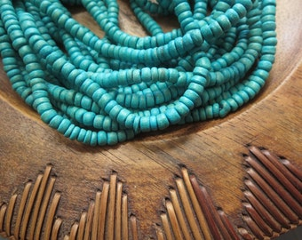 Small blue aqua coconut bead, turquoise rondelles beads disc, spacer, exotic boho coconut heishi 1.5 to 3  x 5mm / 14 inches strand  5BB18-2