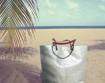 Beach Bag, Metallic Silver Linen Bag, Tote Bag, Casual Summer Handbag