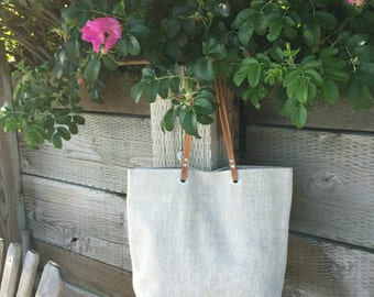 Simple Tote Bag, Natural, Neutral Linen Bag, Beach Bag,Casual Tote, Everyday Tote, Simple, Casual Handbag, Bag