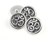 Antique Silver Button Findings TierraCast OM Button Clasp for Leather Jewelry - Aum Meditation Yoga Mindfulness Jewelry Supplies (PF756)