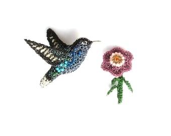Hummingbird and flower brooch set - bird brooch, bird jewelry, flower jewelry, crochet, unusual brooches, beautiful birds, modern jewelry