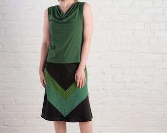 Saturn Top - XL Dark Green Bamboo Cowl Neck Tank Top, eco fashion