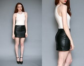 Vintage 90s Black Leather Mini Skirt // High Waisted Petite Soft Leather Skirt - Size 29 inch waist