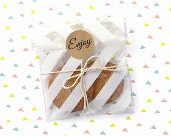 10 Small Cello Bags - 10 x 16.5cm - Striped Bags - Plastic Bags - Food Bags - Gift Bags - Food Packaging - Cookie Bags - Clear Bags