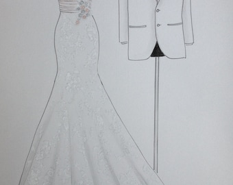 Custom wedding dress and tuxedo drawing, bride and groom portrait, one year anniversary, paper anniversary, wedding anniversary