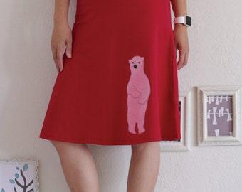 Women Red Cotton Skirt, Midi A-line Skirt, Fold Over Knee Length Applique Skirt - Sweet Polar Bear