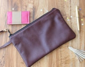 Merlot Leather Clutch, Leather Zip Clutch Handmade Merlot Leather Wristlet, Oversized Wristlet, Leather Cosmetic Bag, Evening bag
